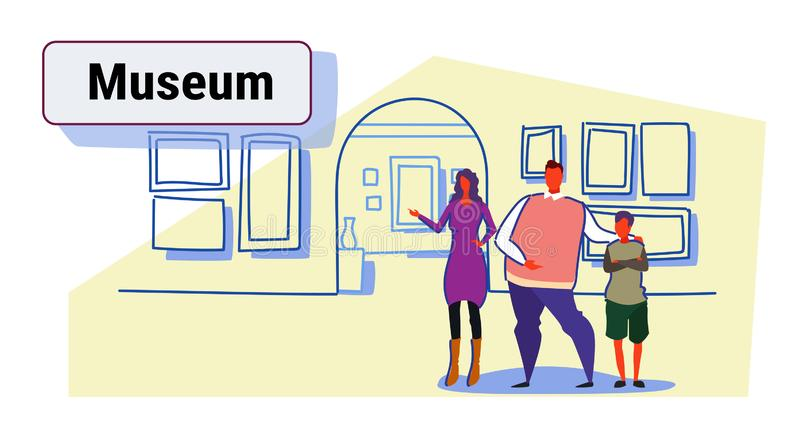 Familia en la exposición en los visitantes del concepto del viaje de la excursión del museo de la galería de arte contemporáneo q libre illustration