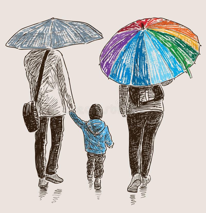 Familia en la lluvia libre illustration