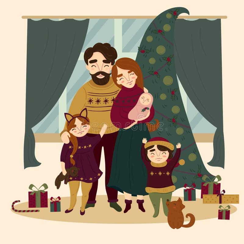 Familia en la Navidad que coloca el árbol de navidad cercano stock de ilustración