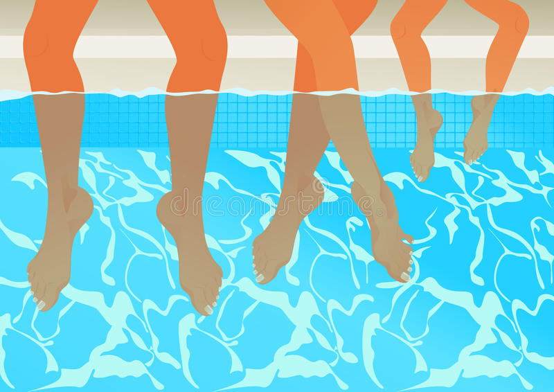 Familia en la piscina libre illustration