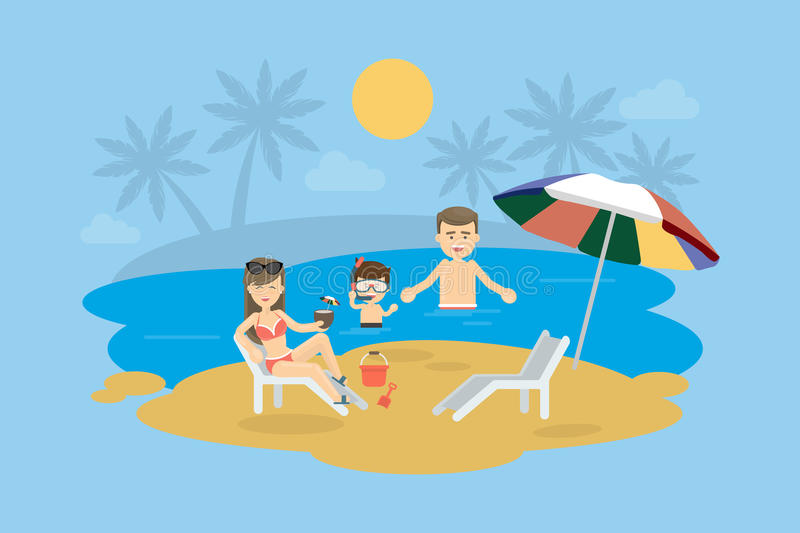 Familia en la playa libre illustration