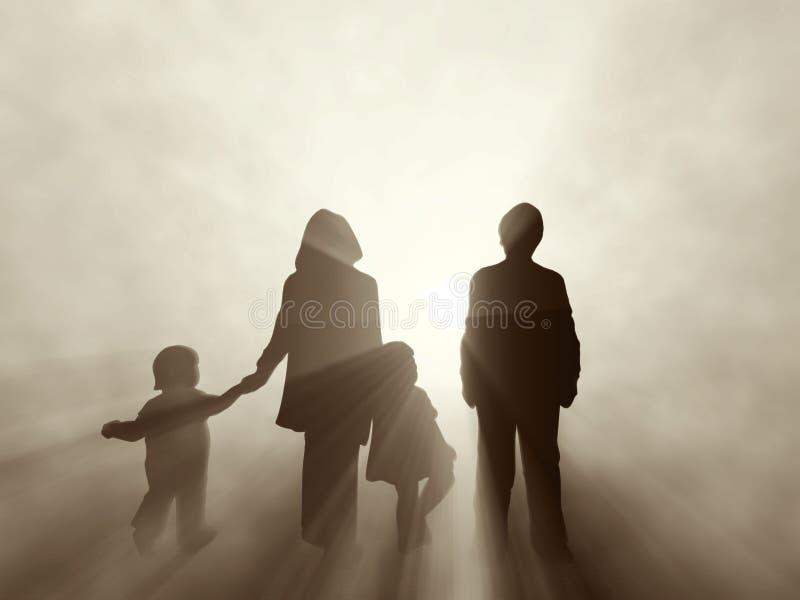 Familia en la salida del sol stock de ilustración