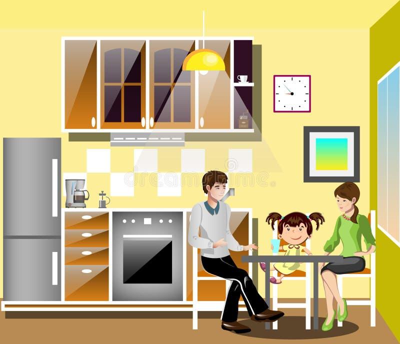 Familia en la tabla en cocina libre illustration