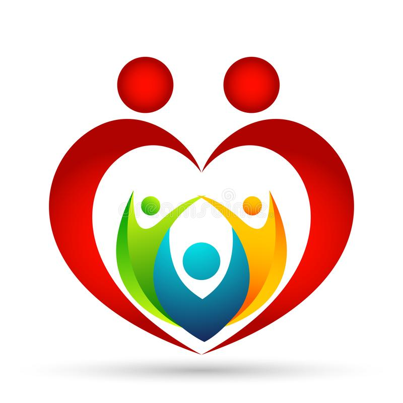 Familia en logotipo feliz de la unión, familia, padre, niños, amor en forma de corazón rojo, parenting, cuidado, logotipo del ico stock de ilustración