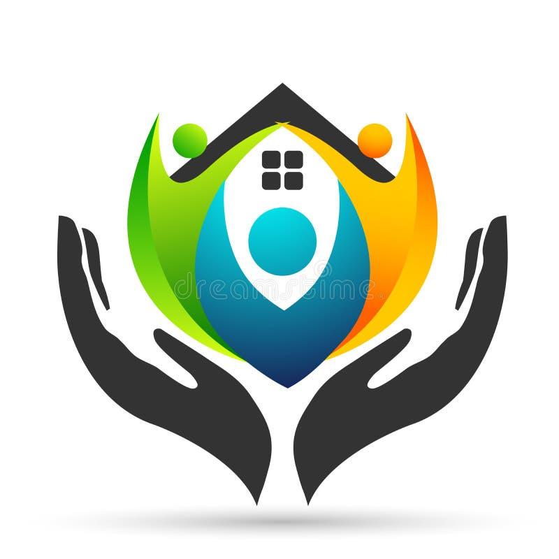 Familia en logotipo feliz del hogar de la uni?n, familia, padre, ni?os, amor verde, parenting, cuidado, vector del dise?o del ico ilustración del vector