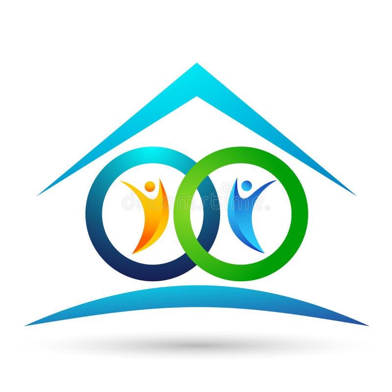 Familia en logotipo feliz del hogar de la uni?n, familia, padre, ni?os, amor verde, parenting, cuidado, vector del dise?o del ico libre illustration