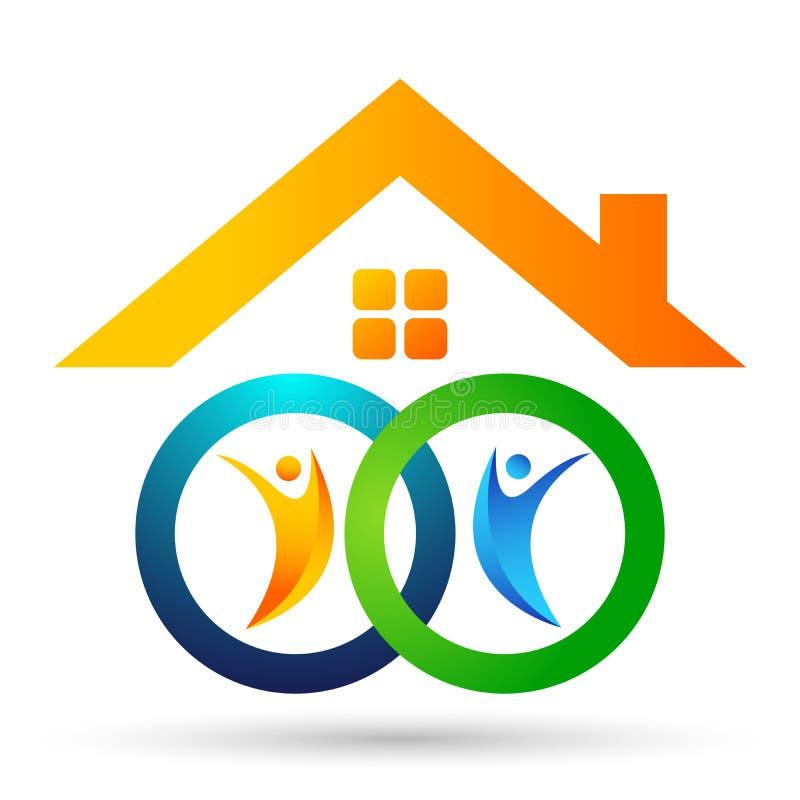 Familia en logotipo feliz del hogar de la uni?n, familia, padre, ni?os, amor verde, parenting, cuidado, vector del dise?o del ico stock de ilustración