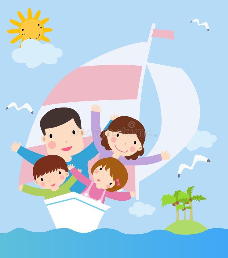 Familia en nave. ilustración del vector de la historieta stock de ilustración