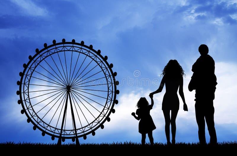 Familia en parque de atracciones stock de ilustración