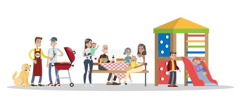 Familia en partido del Bbq en el patio trasero ilustración del vector