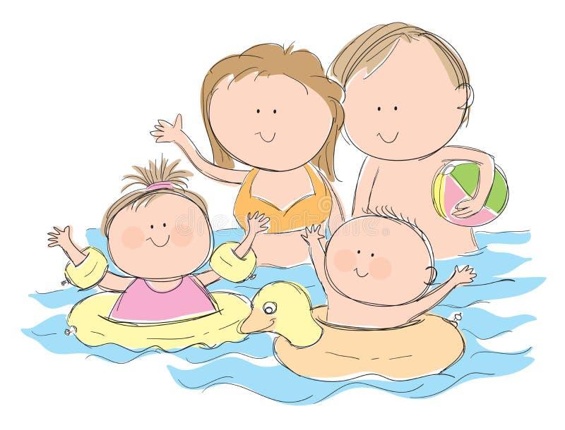 Familia en piscina stock de ilustración