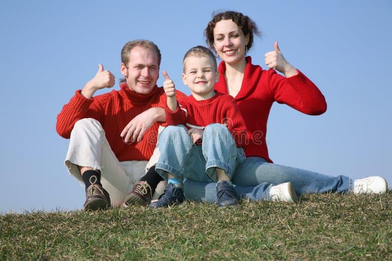 Familia en prado fotografía de archivo libre de regalías