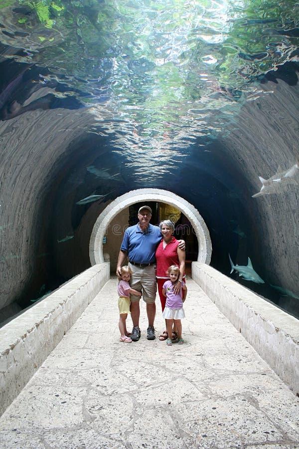 Familia en un túnel foto de archivo