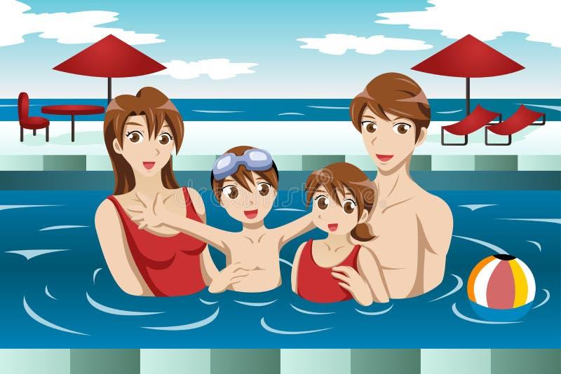Familia en una piscina stock de ilustración