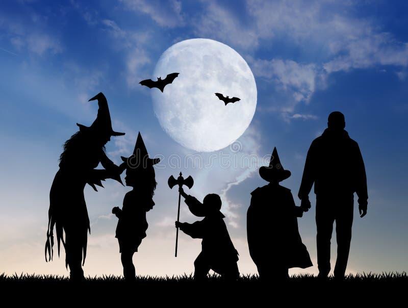 Familia enmascarada para Halloween libre illustration