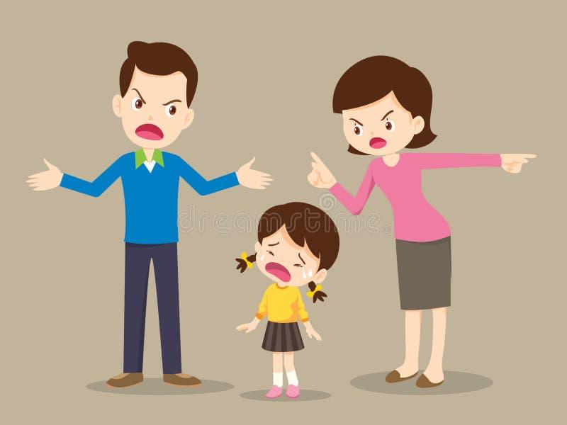 Familia enojada que pelea Los padres pelea y niño escuchan stock de ilustración