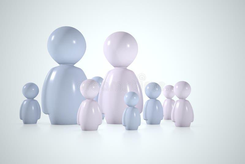 Familia estilizada con el papá, la madre y muchos hijos stock de ilustración