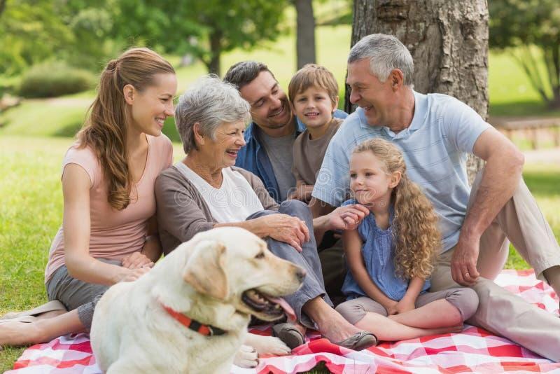 Familia extensa con su perro casero que se sienta en el parque foto de archivo