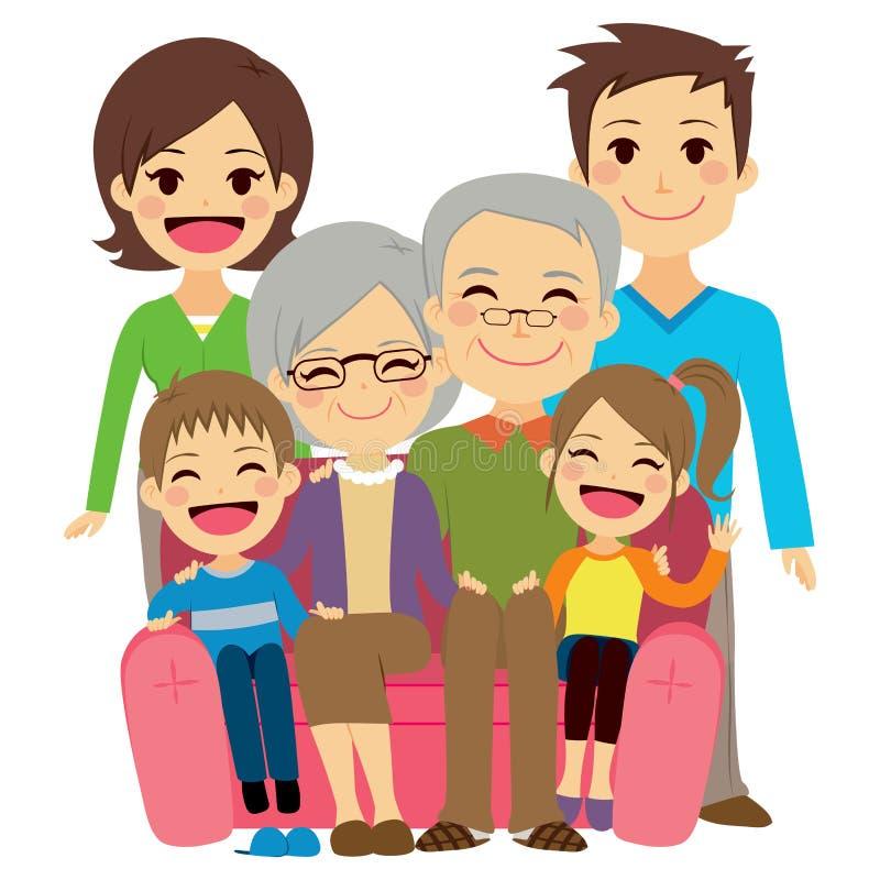 Familia extensa feliz stock de ilustración