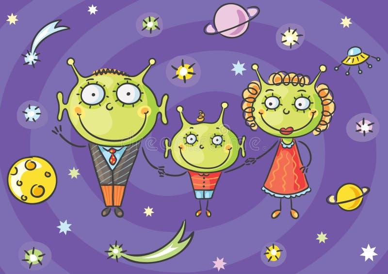 Familia extranjera de la historieta con un pequeño hijo en fondo del espacio ilustración del vector