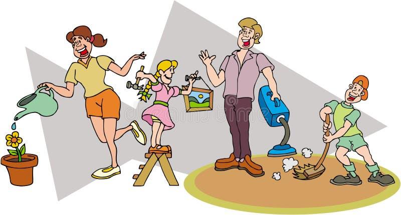 Familia - familia trabajadora ilustración del vector