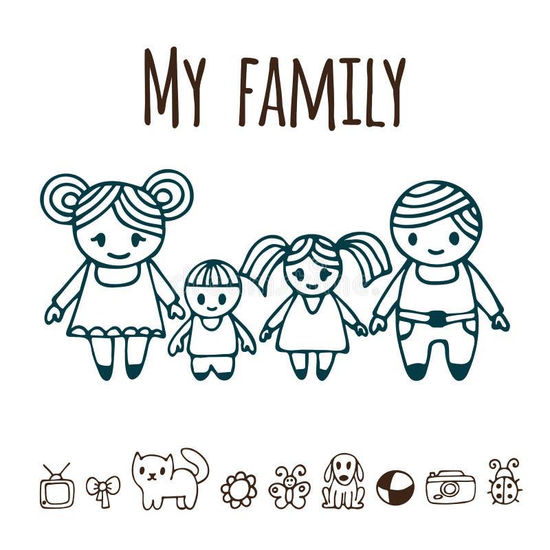 Familia feliz con dos niños en estilo de la historieta Dood dibujado mano libre illustration