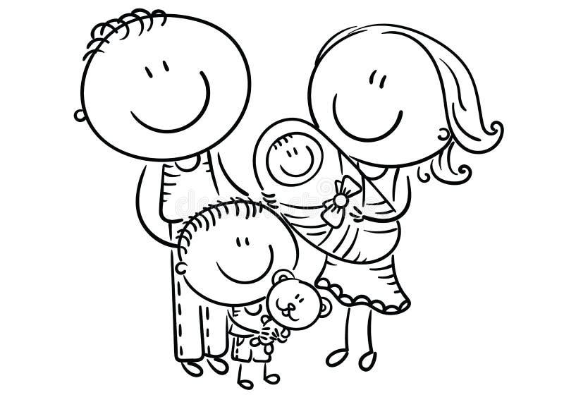 Familia feliz con dos niños, gráficos de la historieta, esquema ilustración del vector