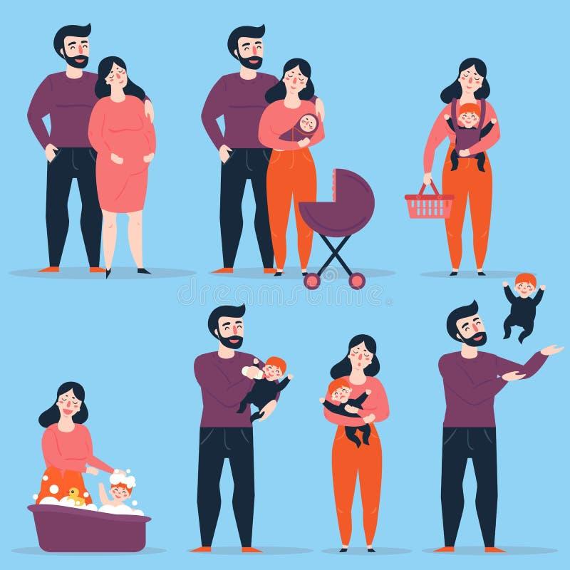 Familia feliz con el bebé en diversas situaciones libre illustration