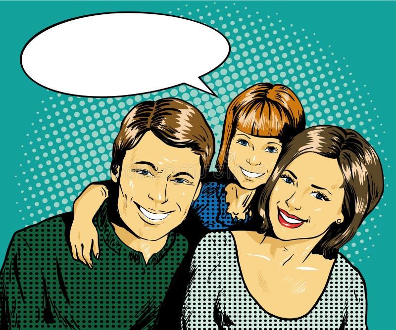 Familia feliz con el cabrito Vector el ejemplo en estilo cómico retro del arte pop stock de ilustración