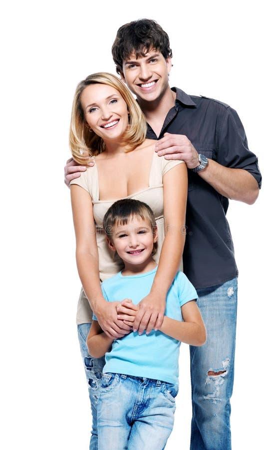 Familia feliz con el niño imagen de archivo libre de regalías