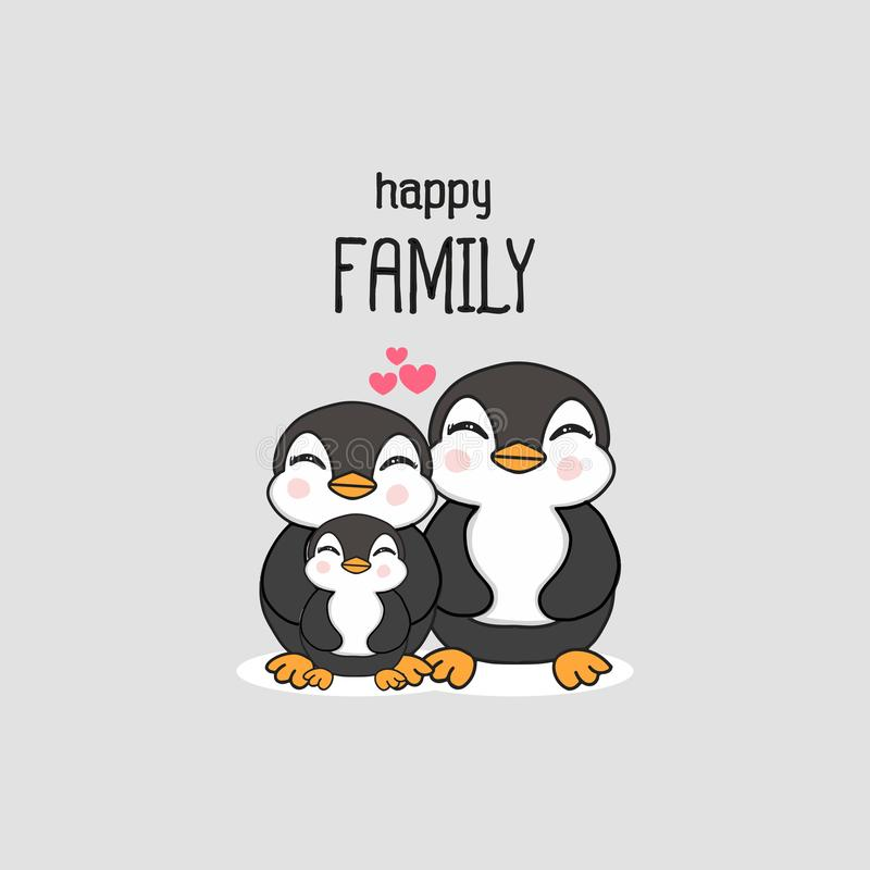 Familia feliz con la historieta exhausta de la mano linda del pingüino ilustración del vector