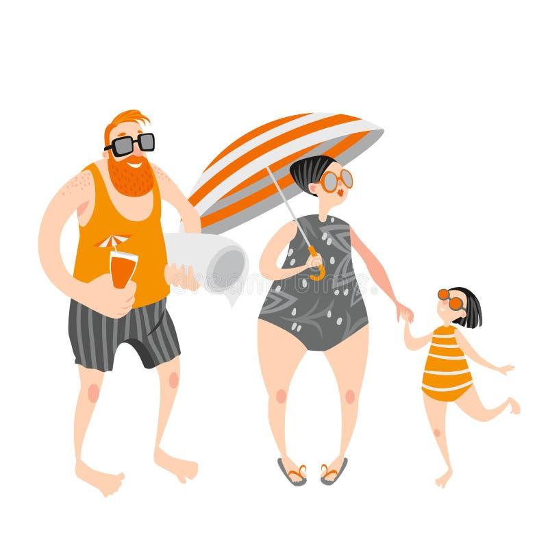 Familia feliz con la niña en la playa Gente en trajes de baño y pantalones cortos stock de ilustración