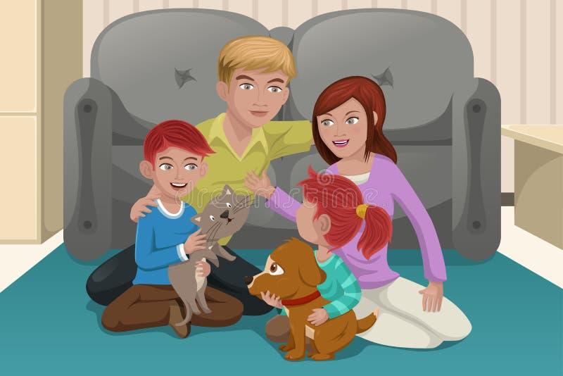 Familia feliz con los animales domésticos stock de ilustración