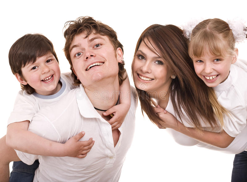 Familia feliz con los niños. foto de archivo libre de regalías