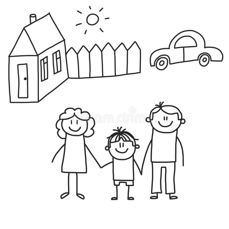 Familia feliz con los niños Niños que dibujan el ejemplo del vector del estilo Madre, padre, hermana, hermano stock de ilustración