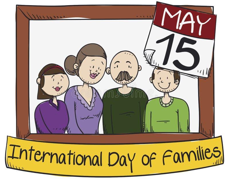 Familia feliz con los padres de la Edad Media que celebran el día de las familias internacionales, ejemplo del vector ilustración del vector