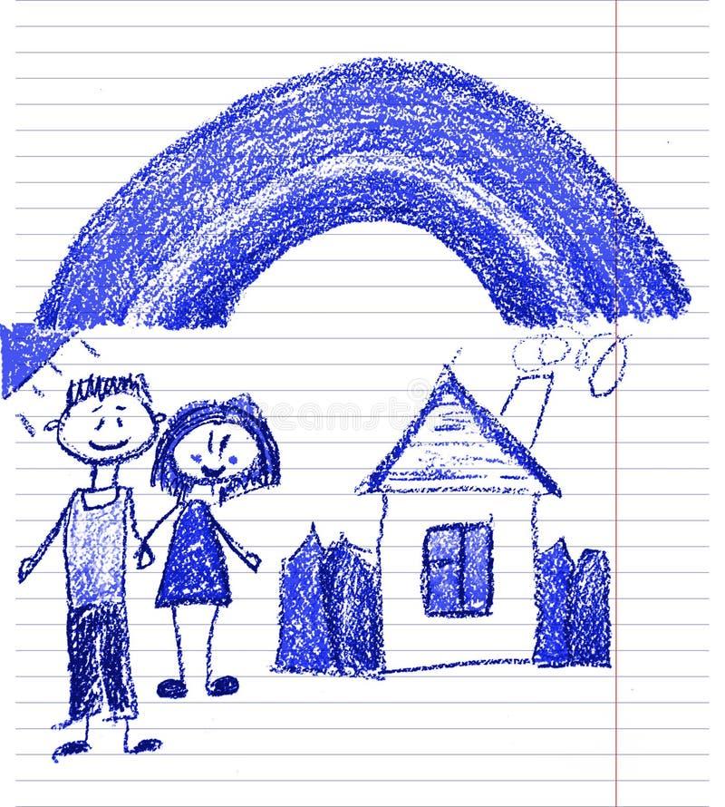 Familia feliz con los peque?os ni?os Madre y padre con los ni?os Brother y hermana con los padres Mi familia con la casa y el arc fotografía de archivo libre de regalías