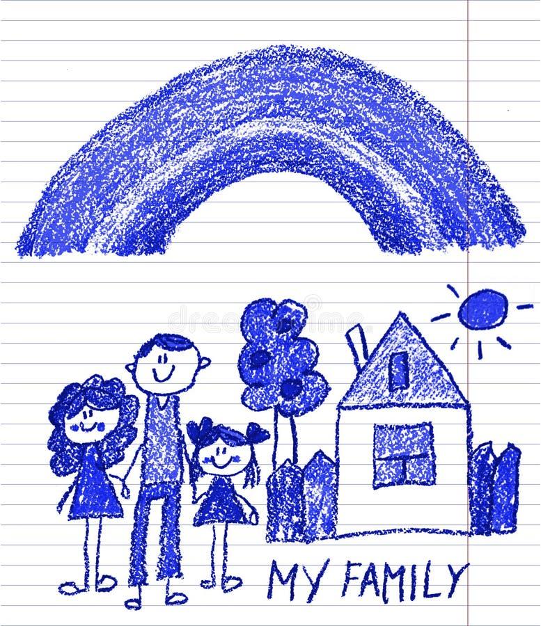 Familia feliz con los peque?os ni?os Madre y padre con los ni?os Brother y hermana con los padres Mi familia con la casa y el arc imágenes de archivo libres de regalías