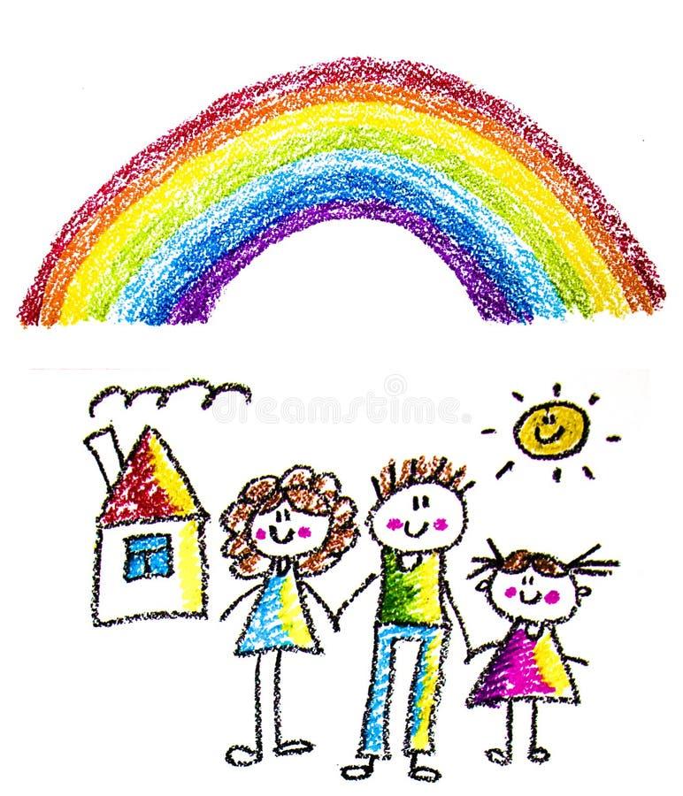 Familia feliz con los peque?os ni?os Madre y padre con los ni?os Brother y hermana con los padres Mi familia con la casa y el arc imagen de archivo