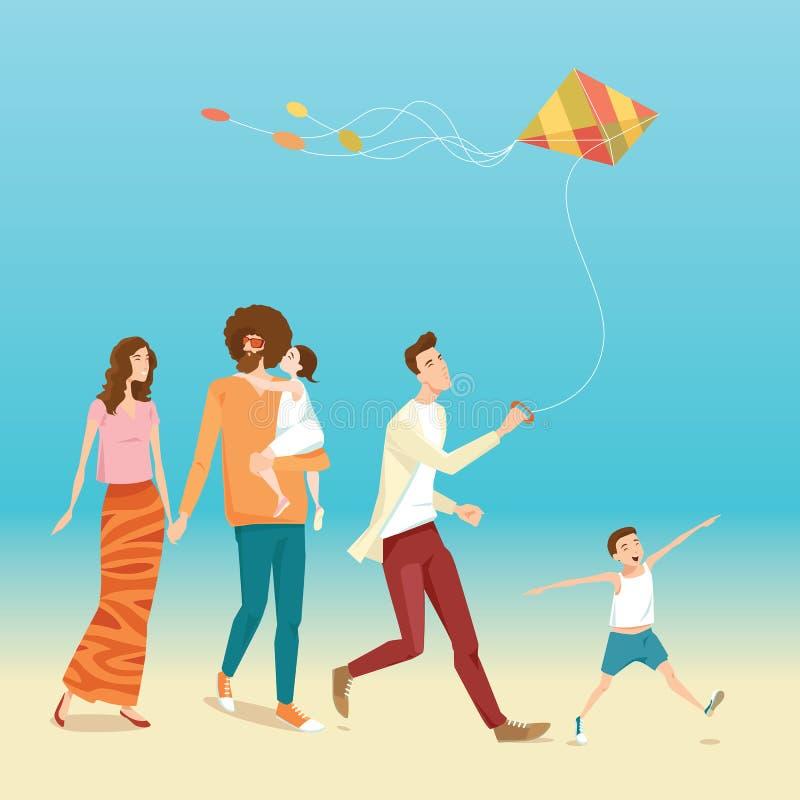 Familia feliz con volar cometas stock de ilustración