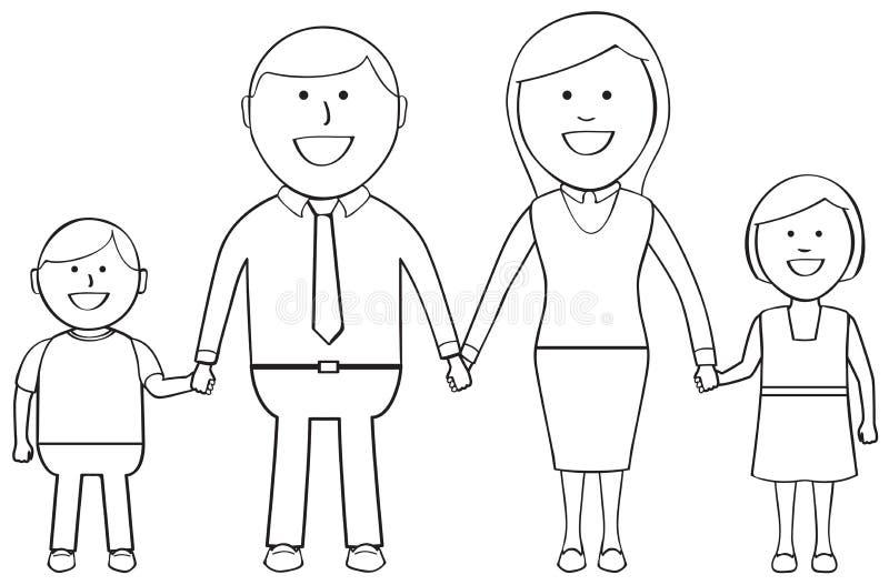 Familia feliz contorneada ilustración del vector