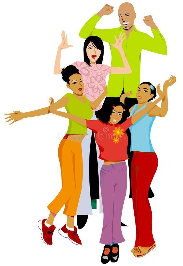 Familia feliz de la aclamación libre illustration