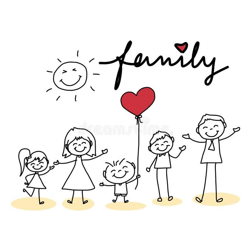 Familia feliz de la historieta del dibujo de la mano ilustración del vector