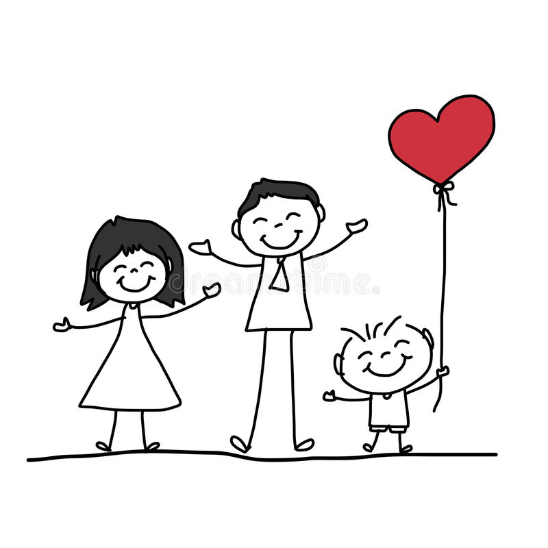 Familia feliz de la historieta del dibujo de la mano stock de ilustración