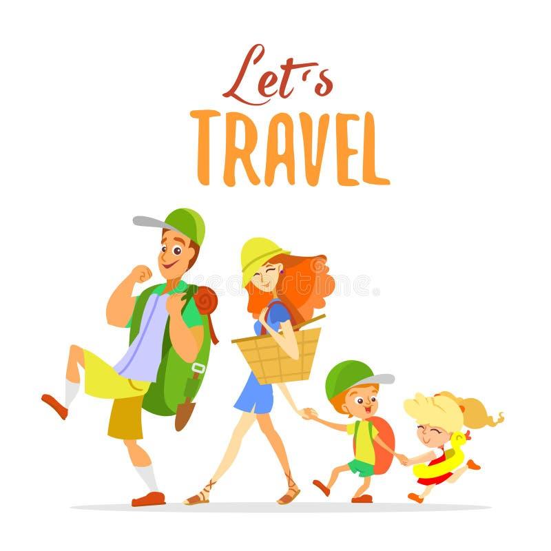 Familia feliz de la historieta que va el vacaciones de verano stock de ilustración