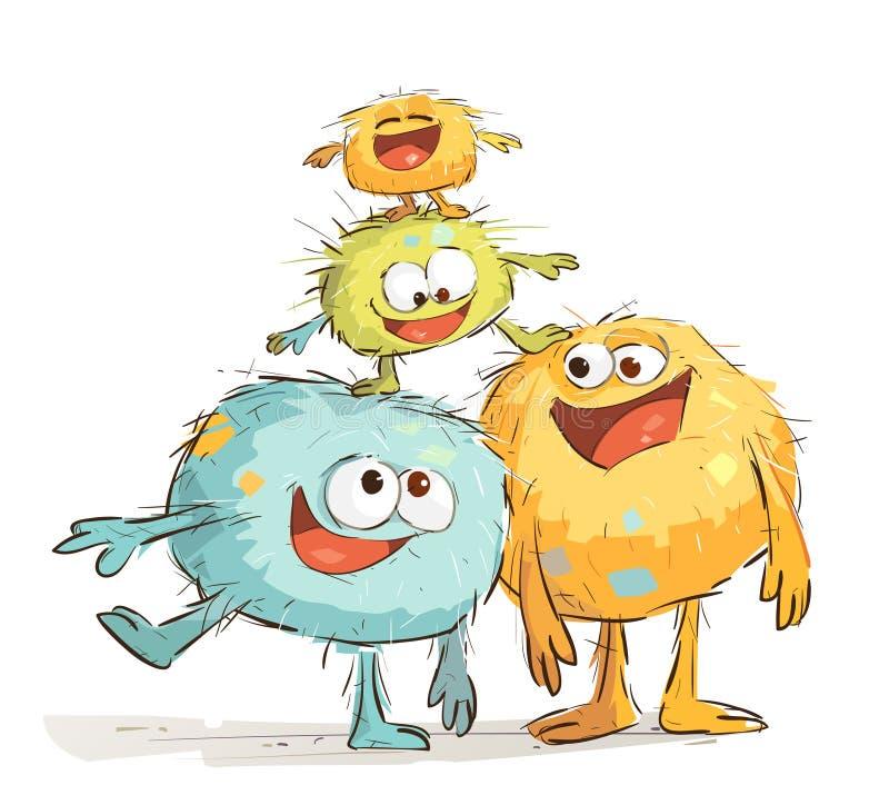 Familia feliz de los monstruos que se divierte ilustración del vector
