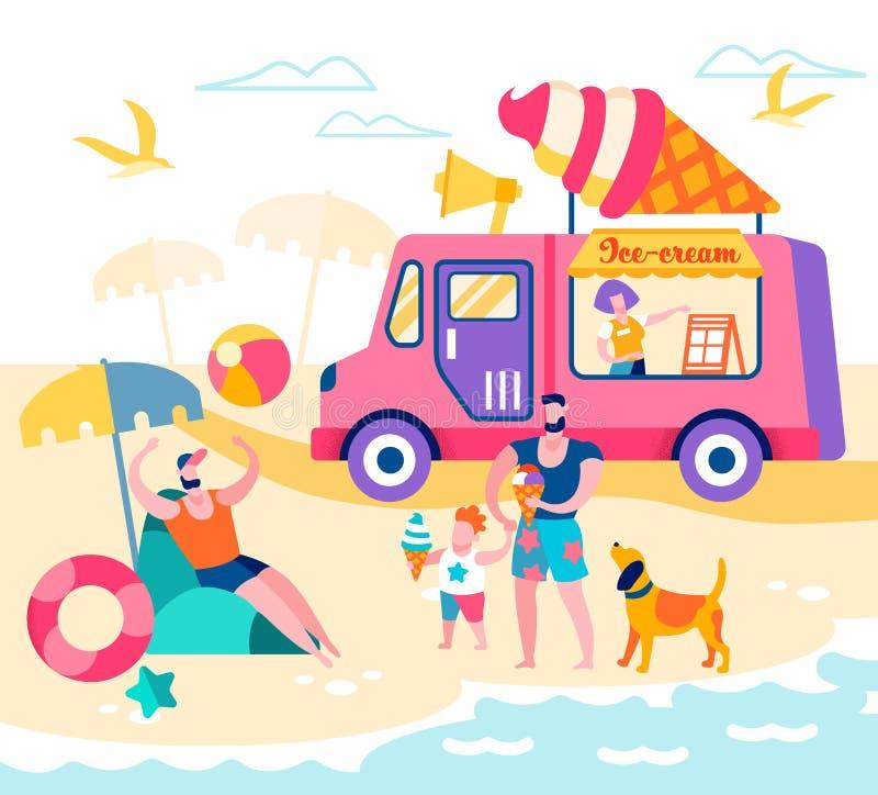 Familia feliz de padre y de hijo que se relajan en la playa libre illustration