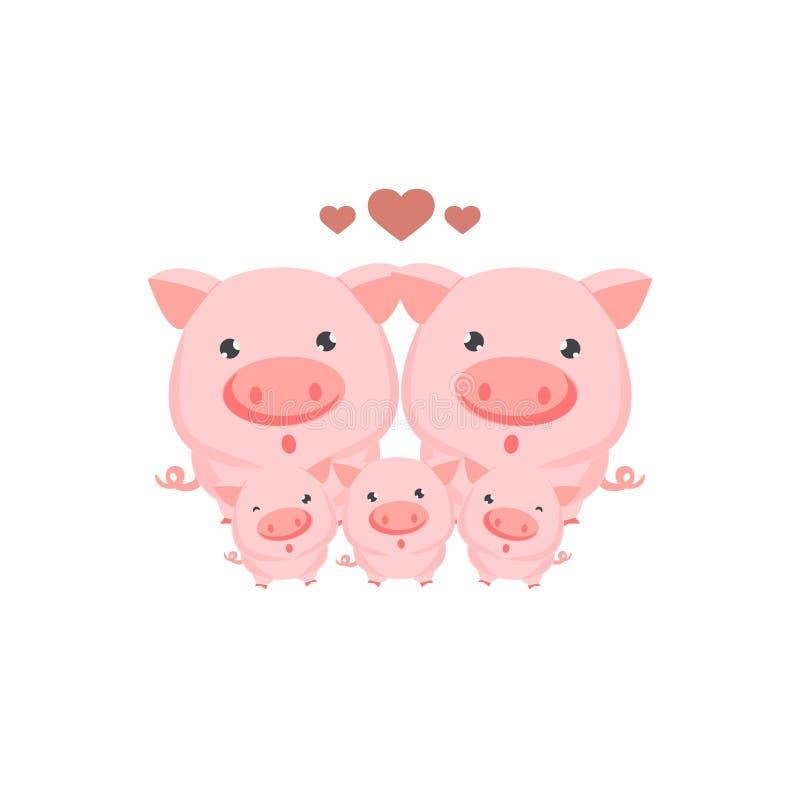 Familia feliz de tarjeta de los cerdos ilustración del vector