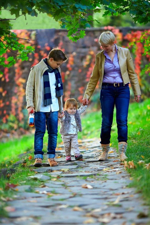 Familia feliz de tres que recorre el parque del otoño fotos de archivo