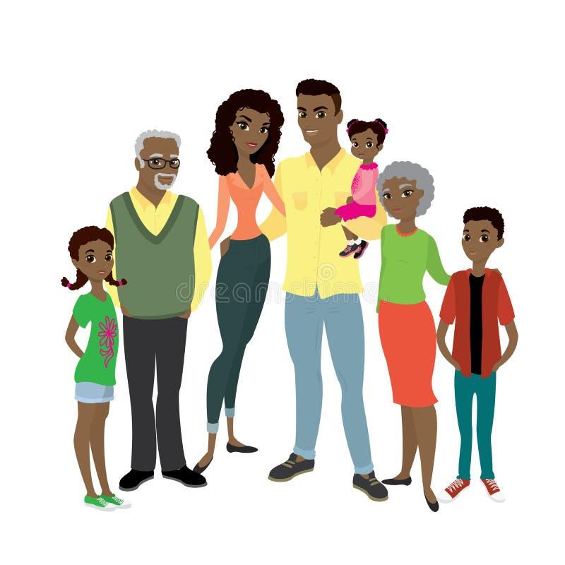 Familia feliz del afroamericano libre illustration